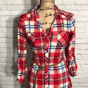 Belted Plaid Passport top size small